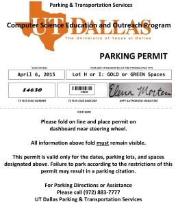 Parking pass April